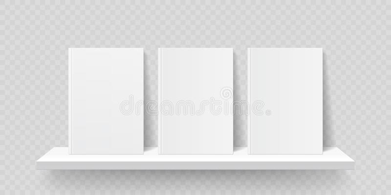 Book shelf mockup. Vector bookshelf wall blank book front covers, brochure gallery shop shelves template stock illustration