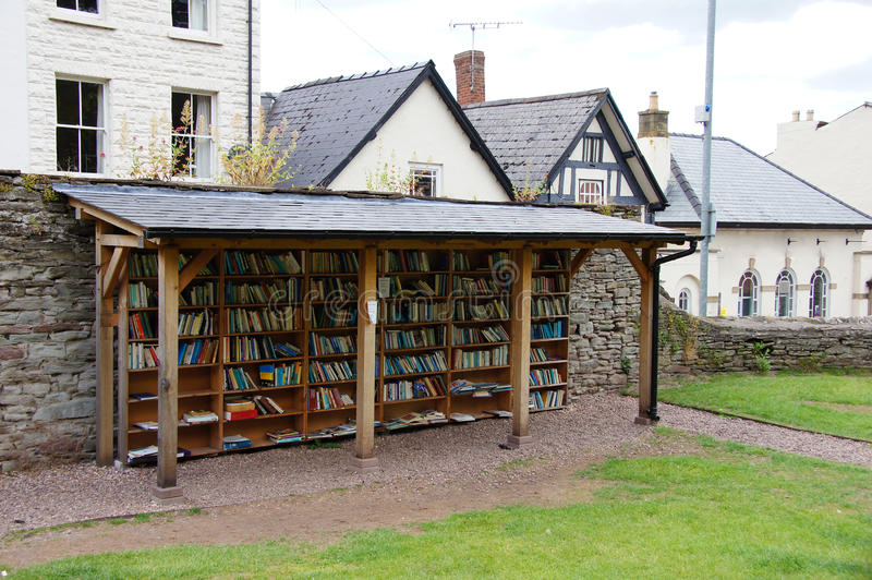 Book shelves in Hay on Wye stock image