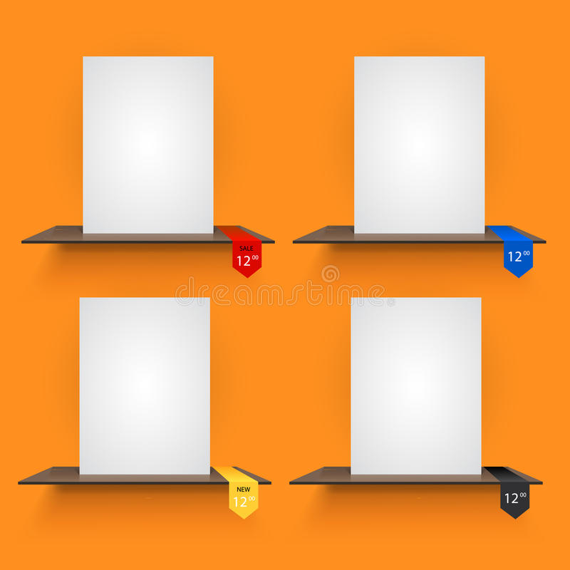 Book shelves with lables on orange background. Book shelves with lables on light orange background. Vector illustration royalty free illustration