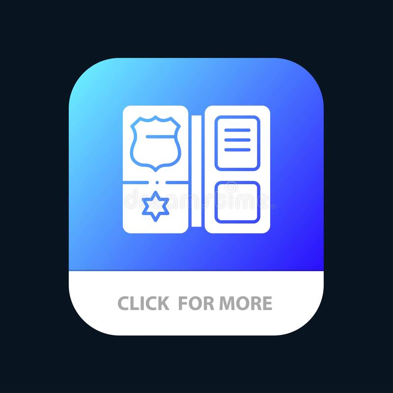 Book, Shield, American, Star Mobile App Button. Android and IOS Glyph Version stock illustration