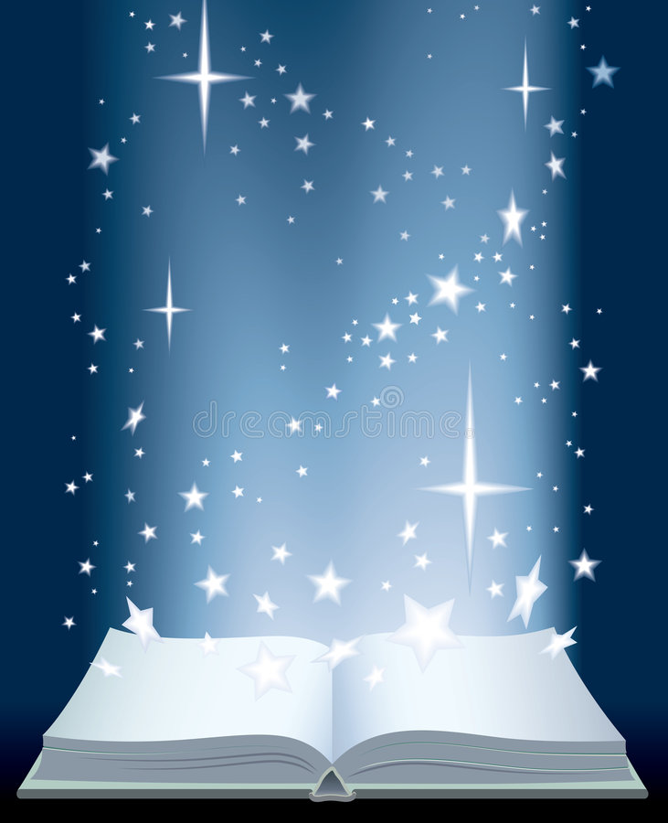 Book and shining stars. An opened magic book and shining stars royalty free illustration