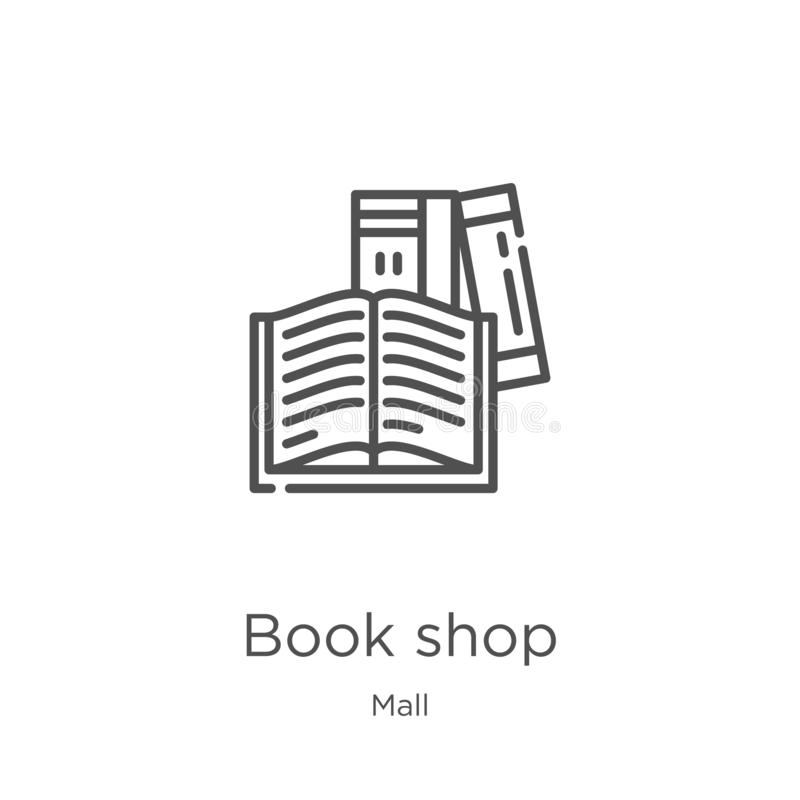 Book shop icon vector from mall collection. Thin line book shop outline icon vector illustration. Outline, thin line book shop. Book shop icon. Element of mall vector illustration