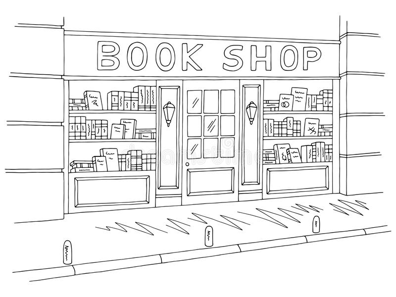 Book shop store exterior graphic black white sketch illustration vector. Book shop store exterior graphic black white sketch illustration stock illustration