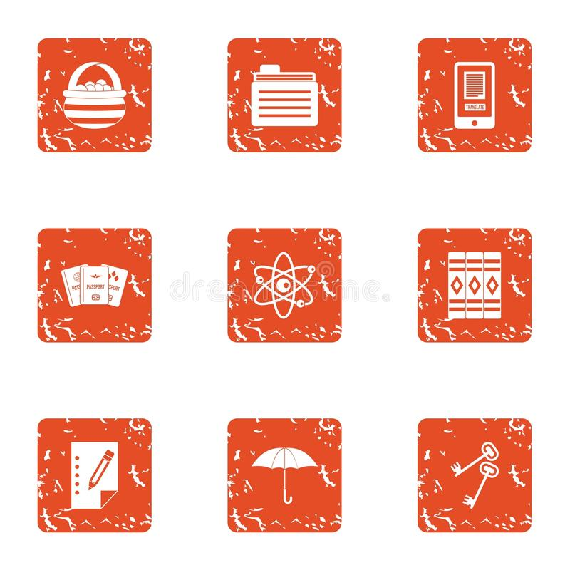 Book spine icons set, grunge style vector illustration