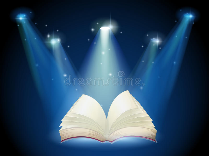 A book with spotlights royalty free illustration