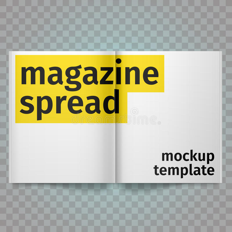 Book Spread With Blank White Pages. Vector blank magazine spread. Isolated white paper. A4 brochure open. stock illustration