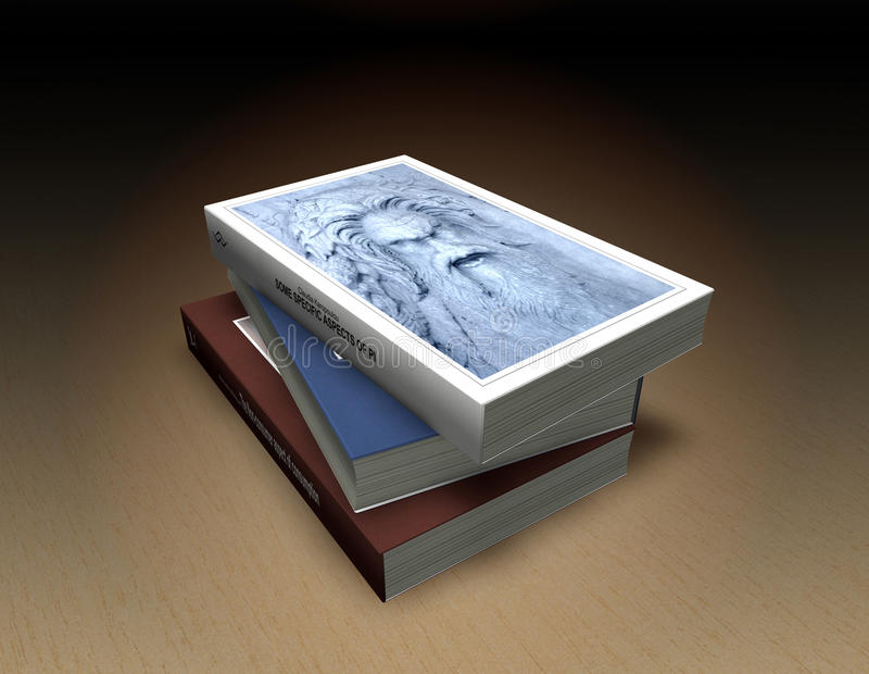 Book stack. Small stack of 3 classic books in hard cover, on wooden surface - fictional titles and logos of my autorship - all used photos and graphics of my vector illustration
