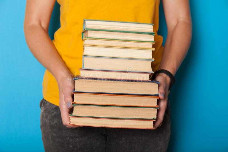 Book stack, pile. Literature study in school stock image