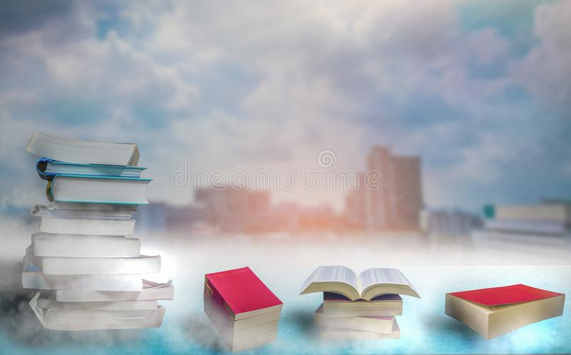 Book Stack,Place the windows on tall buildings. royalty free stock photos