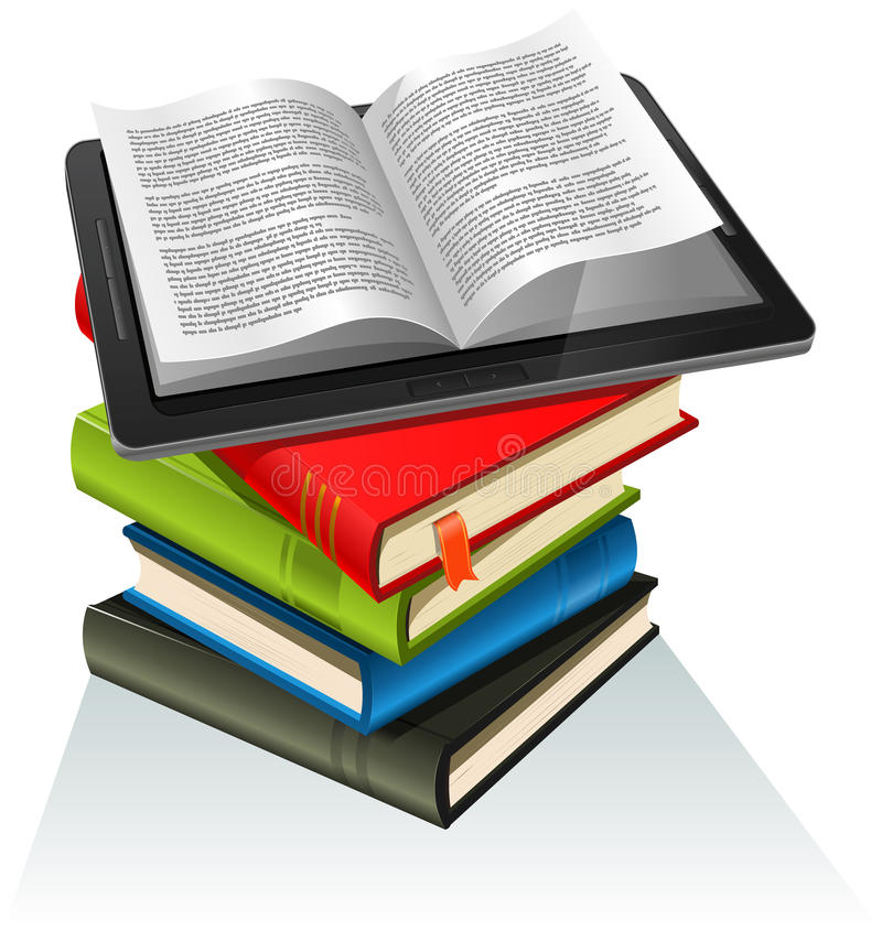 Book Stack And Tablet PC Stock Photos