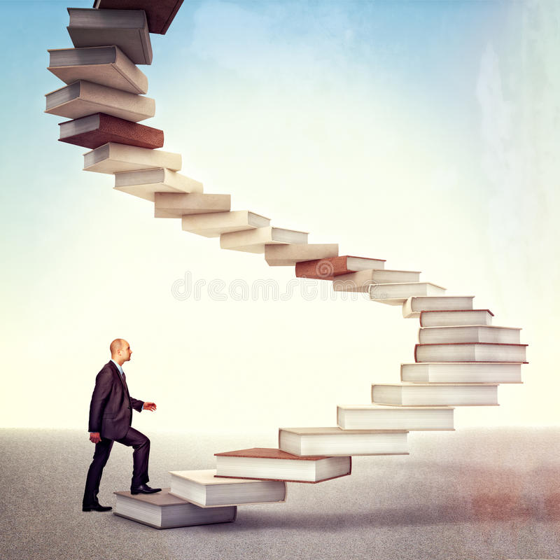 Book stair and man vector illustration