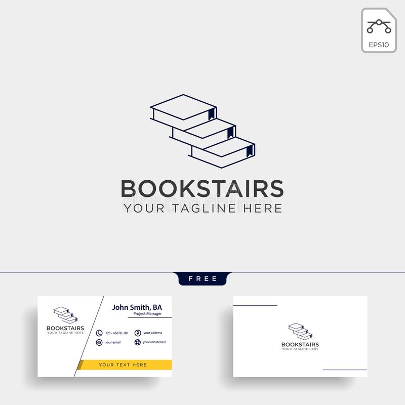 Book stairs line art logo template vector illustration icon element isolated. Vector file stock photography