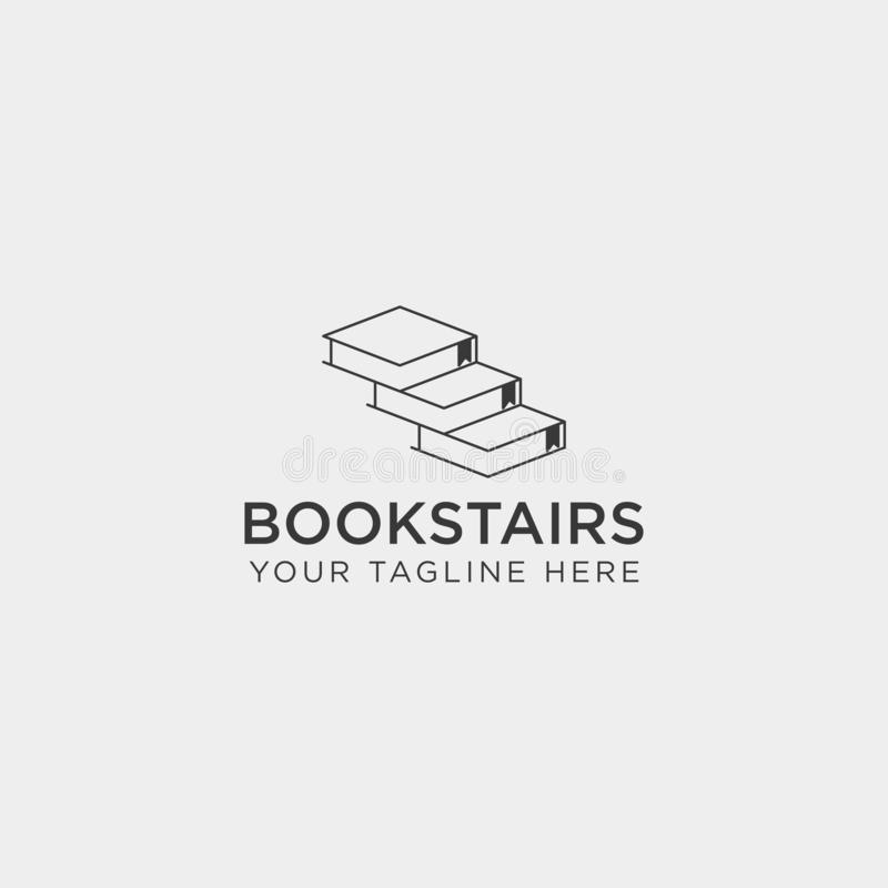 Book stairs line art logo template vector illustration icon element isolated. Vector file royalty free stock image