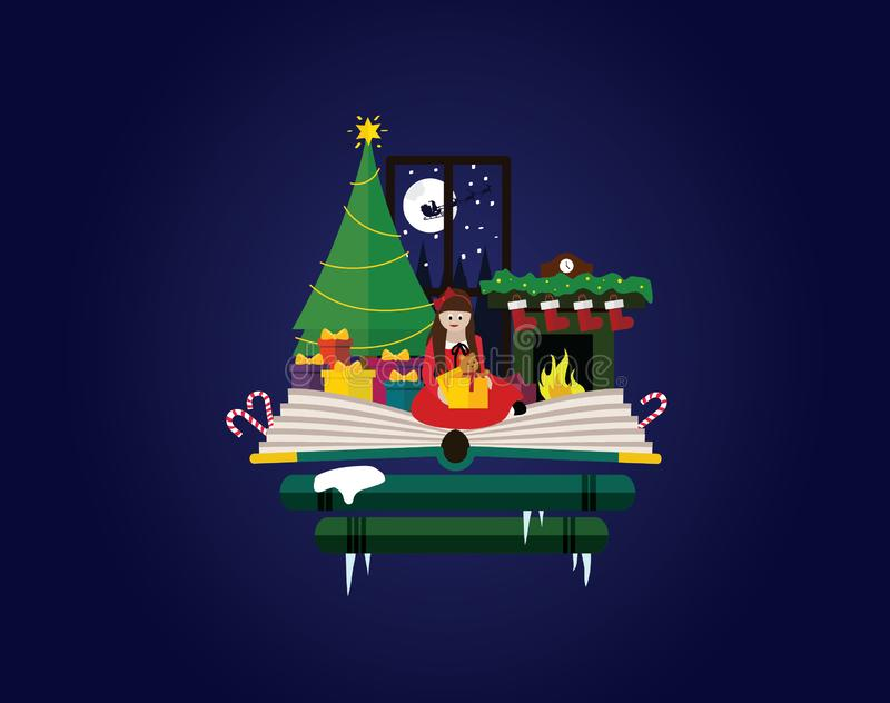Christmas. Girl opening her presents in home next to christmas tree and fireplace. stock illustration
