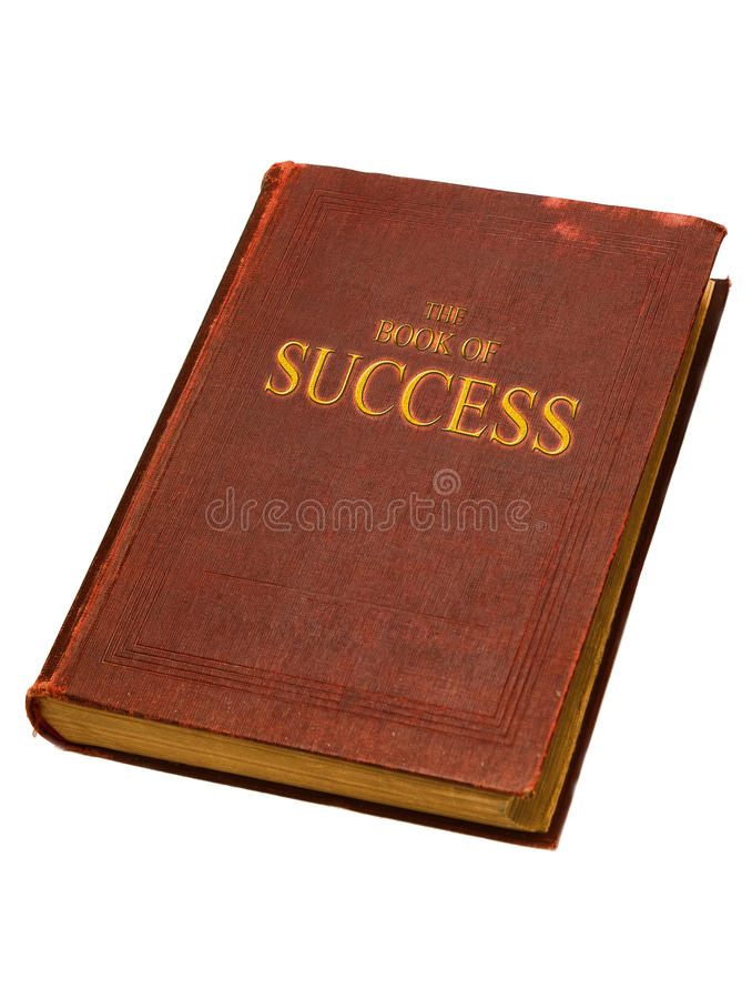 The book of success. Old book with golden title The book of success isolated on white background stock photography