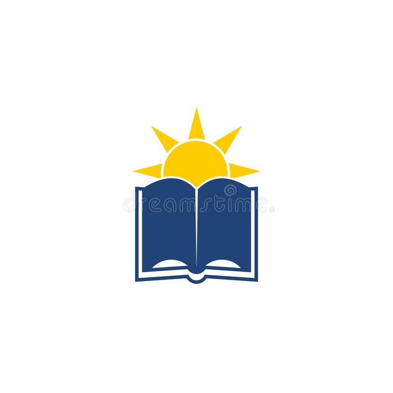 Book and sun icon or logo stock illustration