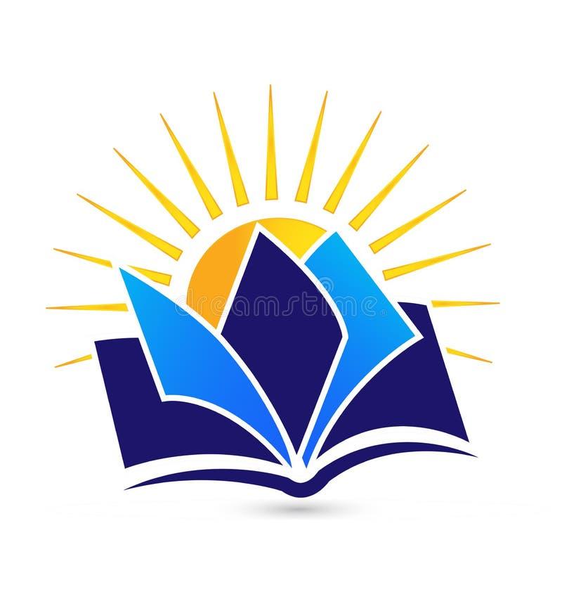 Book and sun logo vector illustration