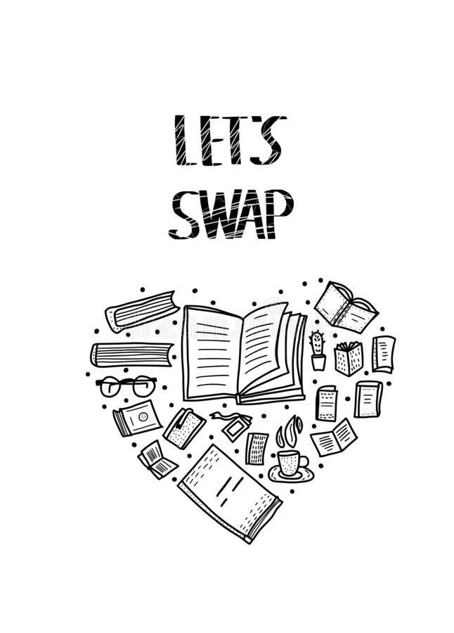 Book Swap hanwritten lettering. Vector design. Lets Swap lettering with doodle style heart composition decoration. Quote for book exchange event. Handwritten vector illustration