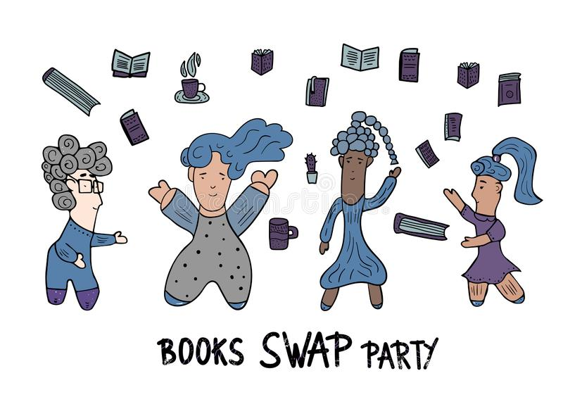 Book Swap hand drawn text. Vector color design. Book Swap Party concept with girls. Hand lettering with doodle style decoration. Quote for exchange event vector illustration