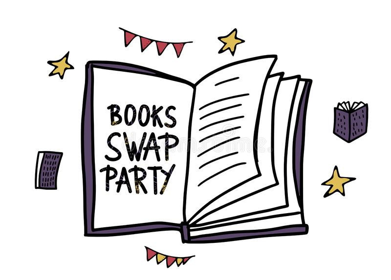 Book Swap hanwritten lettering. Vector design. Book Swap Party concept. Hand lettering with doodle style decoration. Quote for exchange event. Handwritten vector illustration
