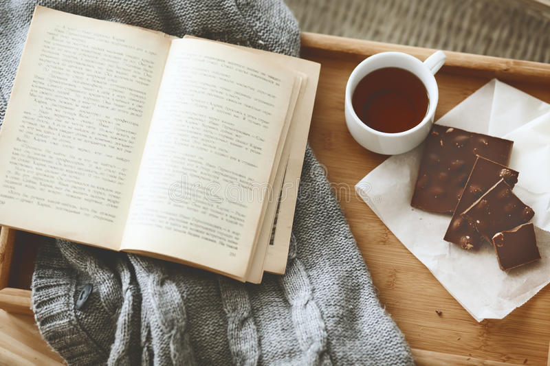 Book and sweater stock photography
