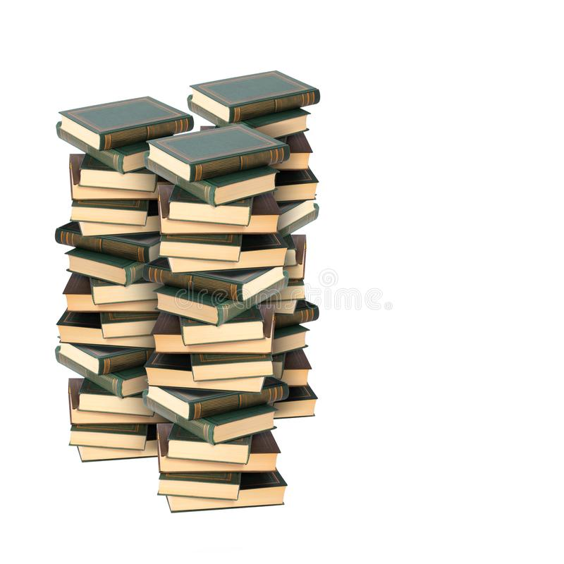 Book - Three Pile of books. Book - Very big image Pile of thick books on a white background royalty free stock photo