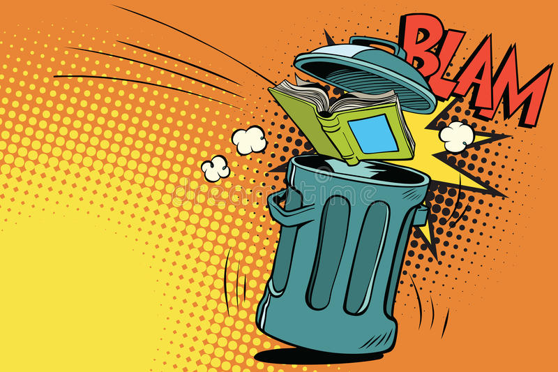 Book thrown in the trash. Comic book cartoon pop art retro color vector illustration hand drawn vector illustration