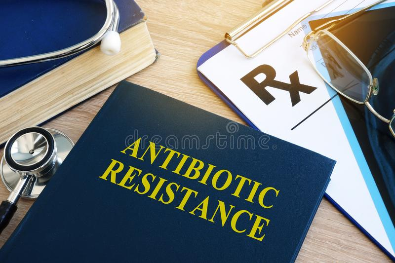 Book with title Antibiotic resistance. Book with title Antibiotic resistance in a hospital royalty free stock photo