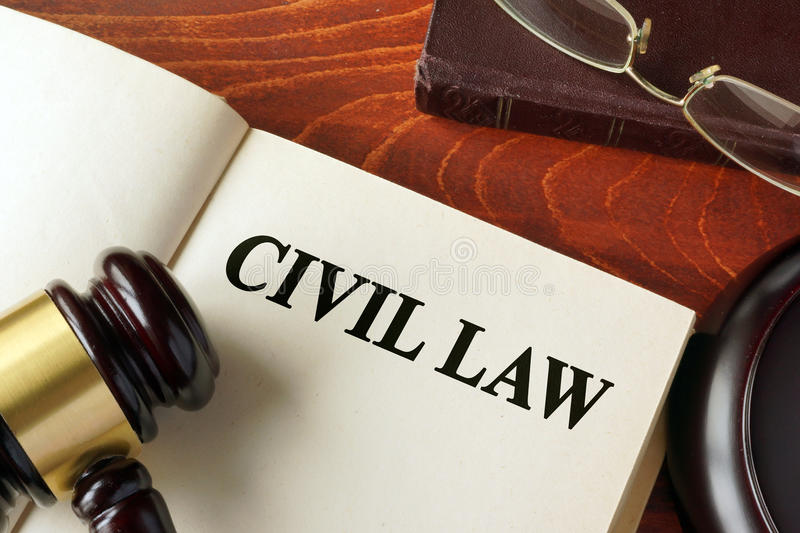 Book with title civil law. royalty free stock photography