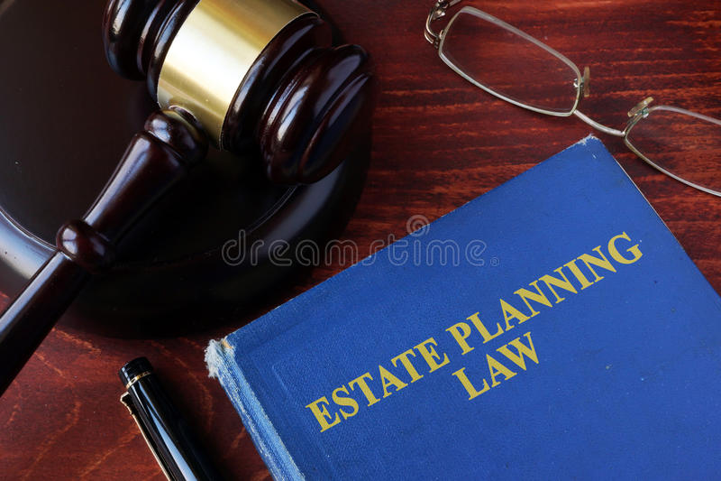 Book with title estate planning law. stock images