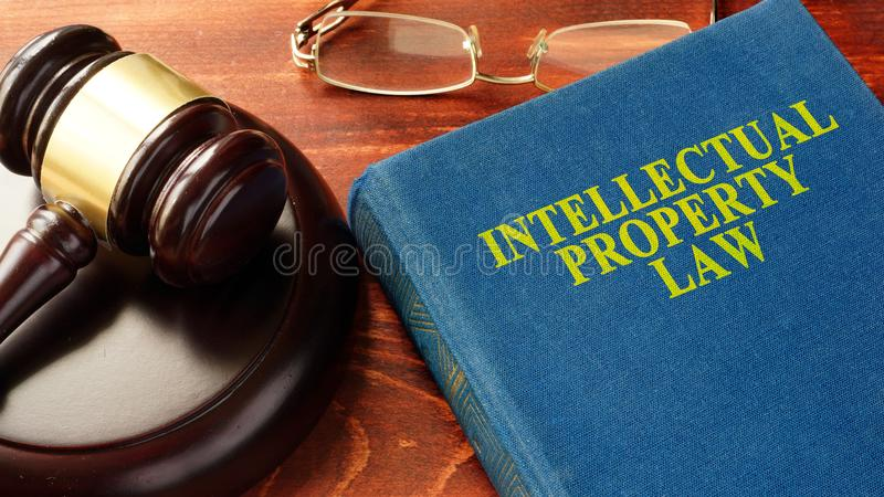 Intellectual Property Law. Book with title Intellectual Property Law royalty free stock images