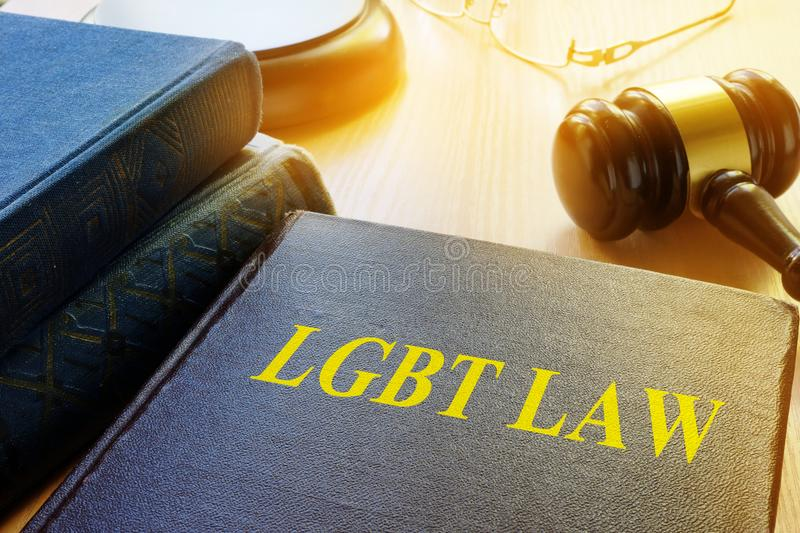Book with title LGBT Law. stock photo