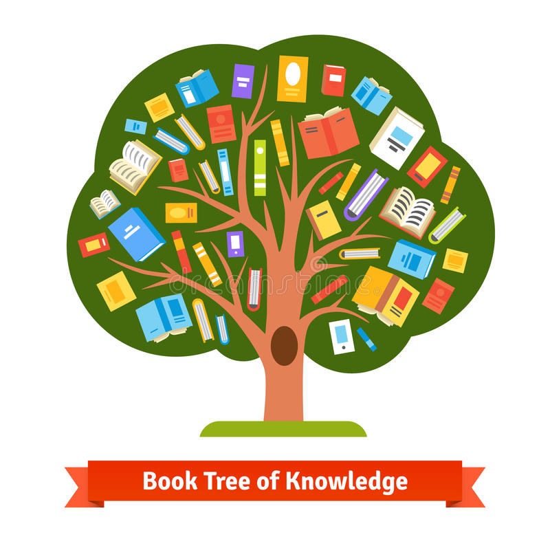 Book tree of knowledge and reading stock illustration
