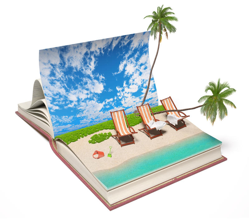 Download Book with a tropical beach stock illustration. Illustration of harmony - 38184280
