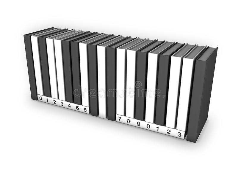Book UPC. 3d Image of a stack of books shaped like a upc Symbol vector illustration
