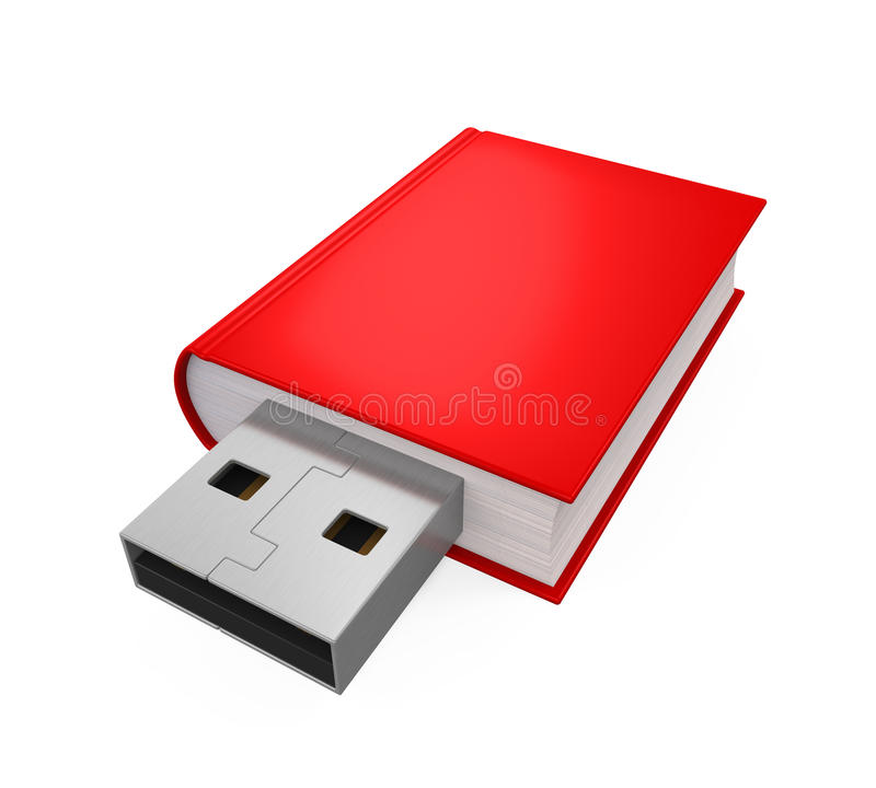 Book with USB Plug. Isolated on white background. 3D render royalty free illustration
