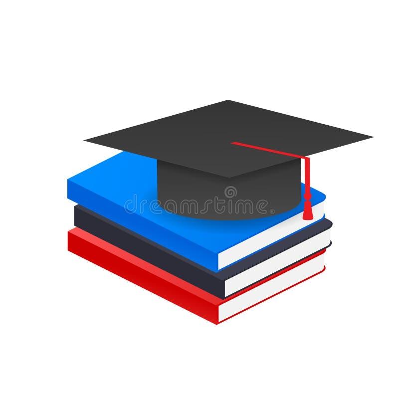 Book with vector graduation cap. Vector stock illustration stock illustration