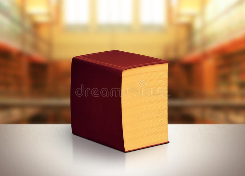Book. Very big book in brown leather binding royalty free stock photo