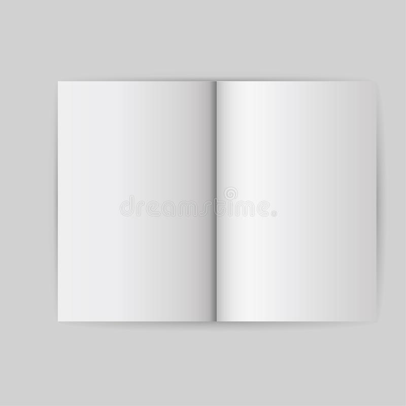Book white blank template object. Open cover mock up isolated brochure vector. Empt page business paper background. Clean booklet royalty free illustration