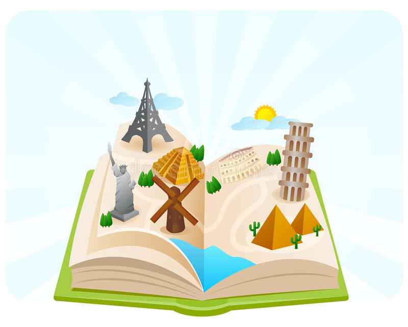 Book of Wonders of the world stock illustration