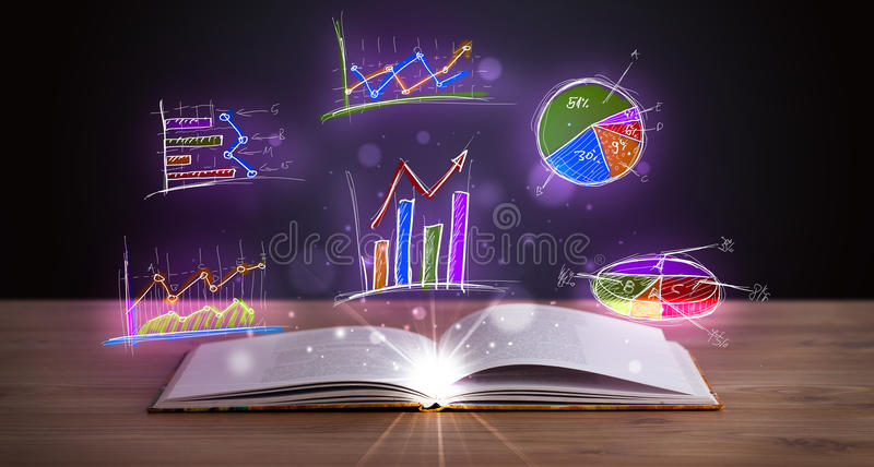 Book on wooden deck with glowing graph illustrations. And symbols royalty free stock photography