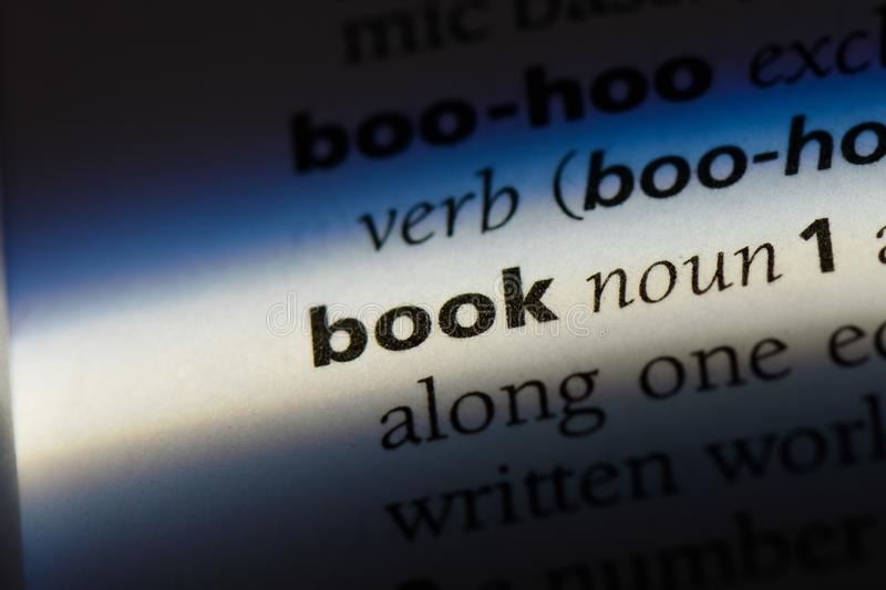 Book. Word in a dictionary.  concept royalty free stock photo