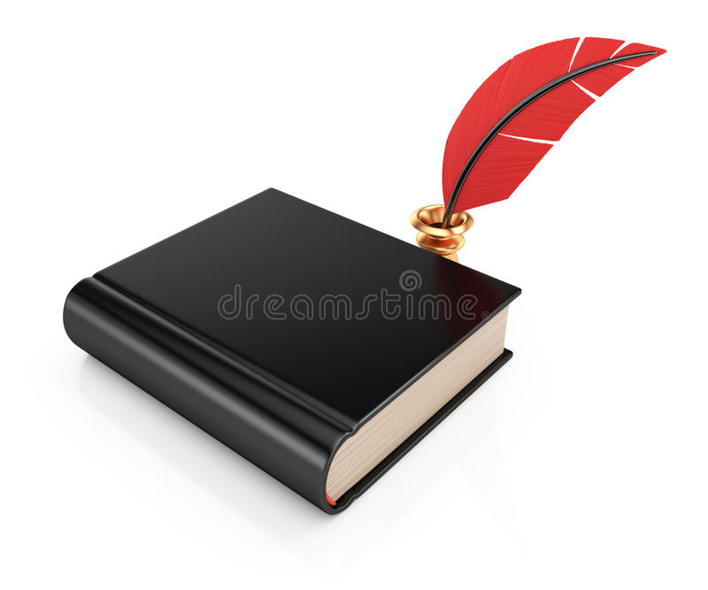 Book and writing quill. On white background. 3d rendering illustration vector illustration