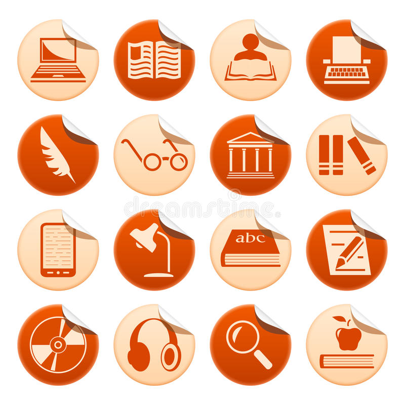 Book writing and reading stickers. Set of writing and reading stickers stock illustration