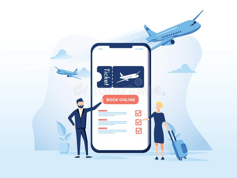 Book your flight concept for application or landing page. Modern stock illustration