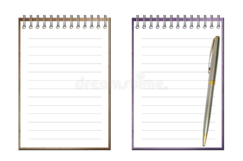 bookand isolerad öppen penna för anmärkning royaltyfria bilder