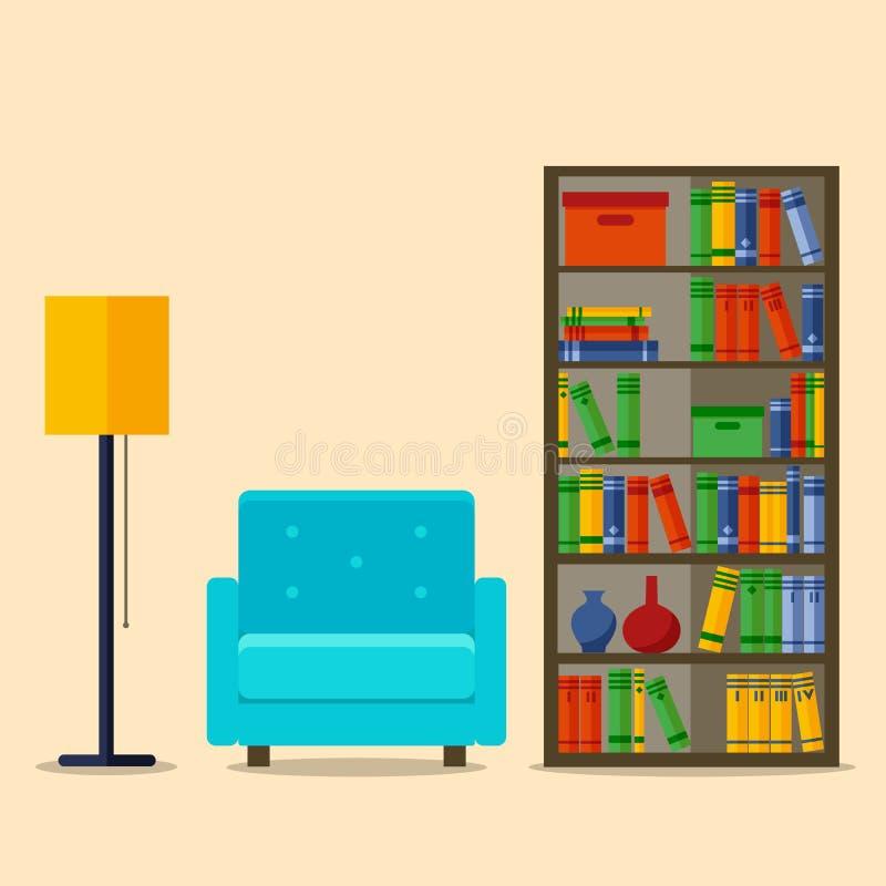 Bookcase и кресло, внутренняя иллюстрация вектора для вебсайта, печати, плаката, infographic иллюстрация вектора