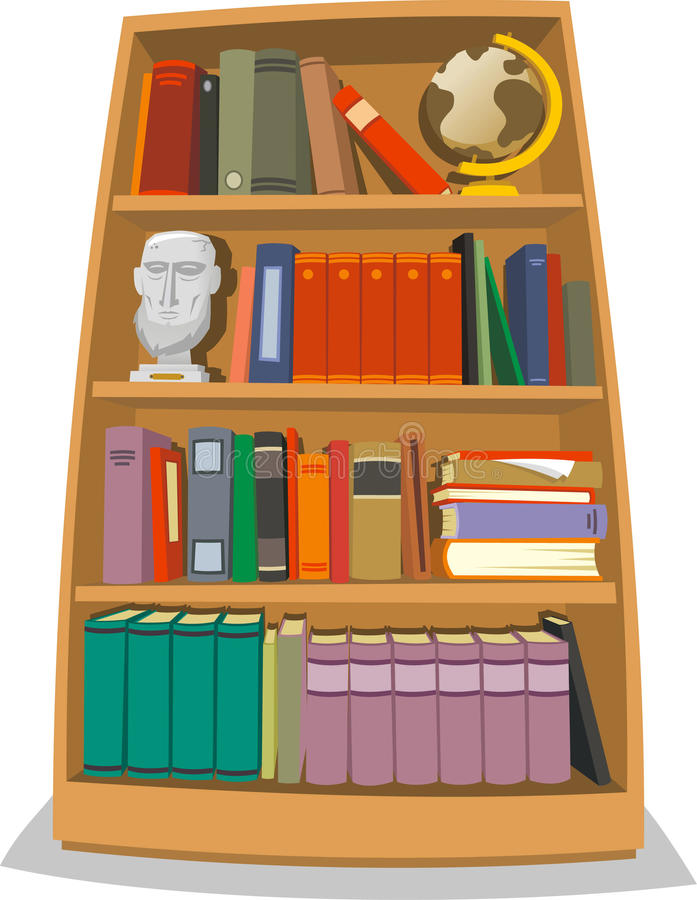 Bookcase with books globe world sculpture and folders vector illustration