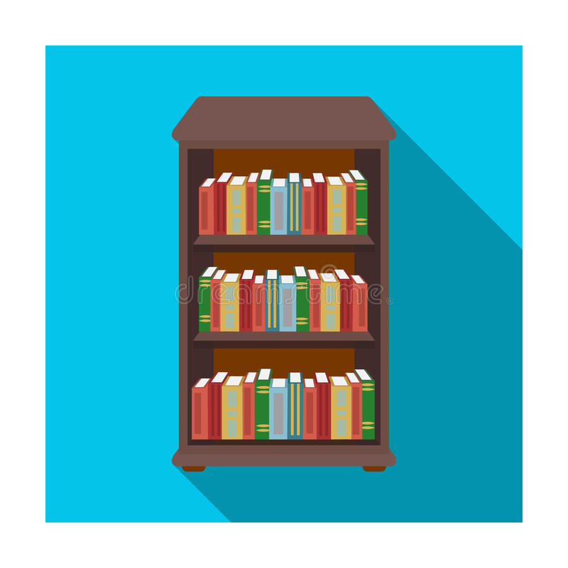 Bookcase with books icon in flat style on white background. Library and bookstore symbol stock vector vector illustration