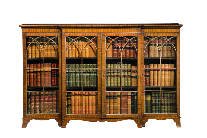 Antique Inlaid Wooden Bookcase With Glazed Doors Isolated On White